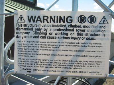 Tower Climb Warning Sign
